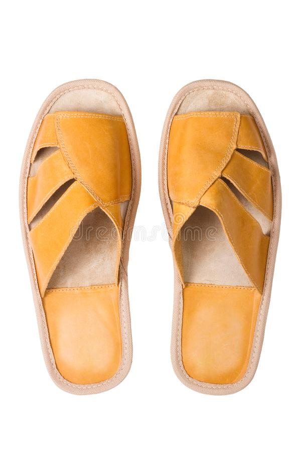 Download Isolated Yellow Leather Comfortable Slippers Stock Image - Image of isolated, leather: 15980747