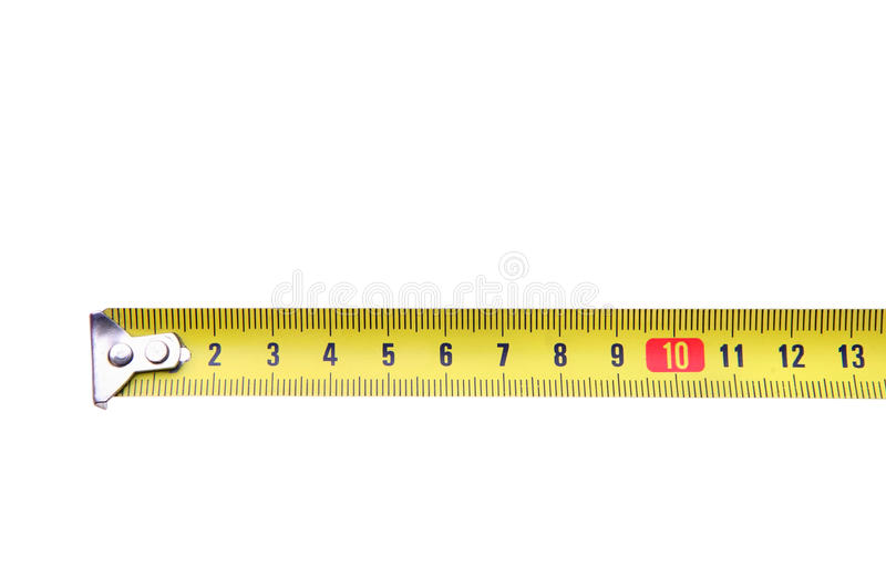 Isolated yellow measuring tape ruler meter. On white royalty free stock image