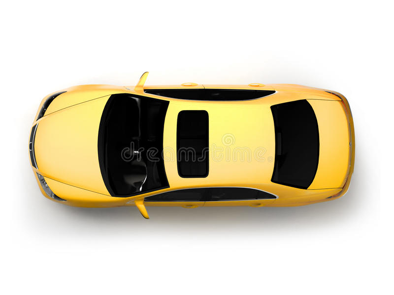 Isolated yellow modern car top view royalty free stock photos