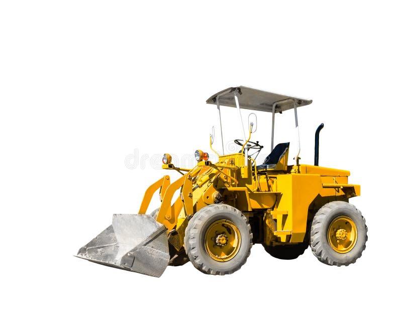 Isolated yellow old bulldozer stock image