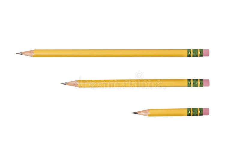 Isolated yellow pencil. An isolated unused, freshly sharpened pencil for use in any school or writing inference royalty free stock photography