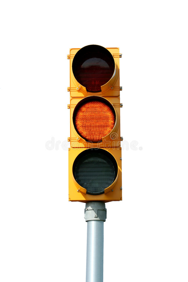 Isolated yellow traffic signal light royalty free stock image