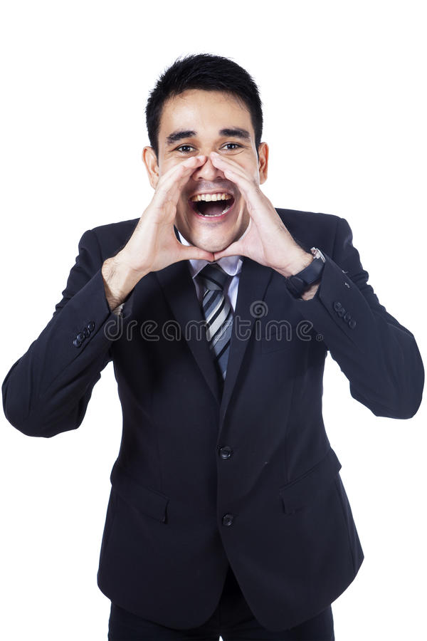 Download Isolated Young Businessman Screaming Stock Photo - Image: 33707722