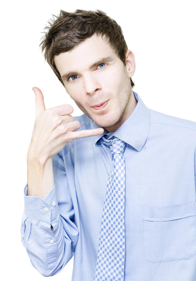Isolated Young Male Businessman At Call Centre Stock Photography