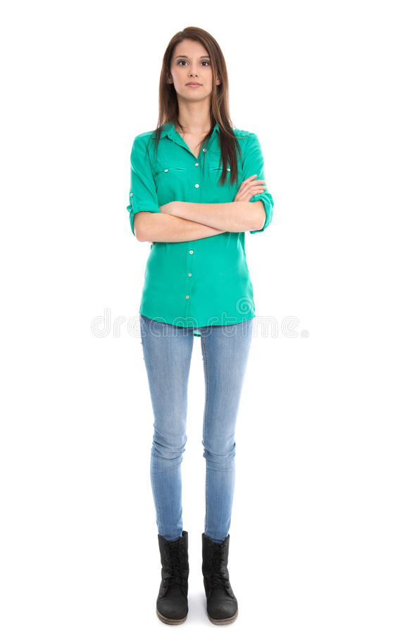 Isolated Young Woman In Blue Jeans In Full Length. Stock Images