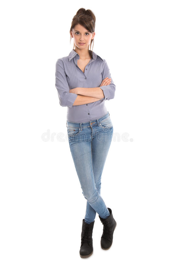 Isolated Young Woman In Full Body Length. Royalty Free Stock Image