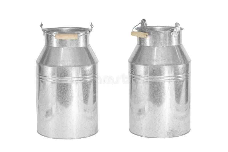 Isolated Zinc flower pot. Bucket of water. Milk bucket.  royalty free stock images