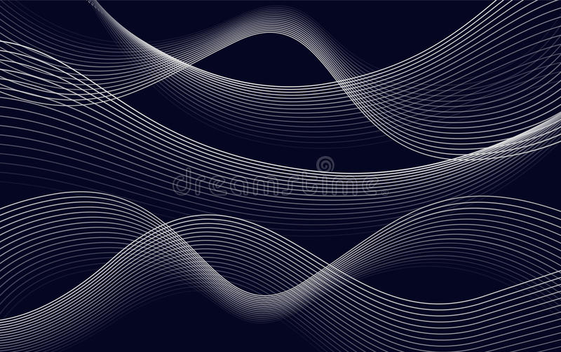 Isolates abstract dark blue color wavy lines background, curves backdrop vector illustration stock illustration