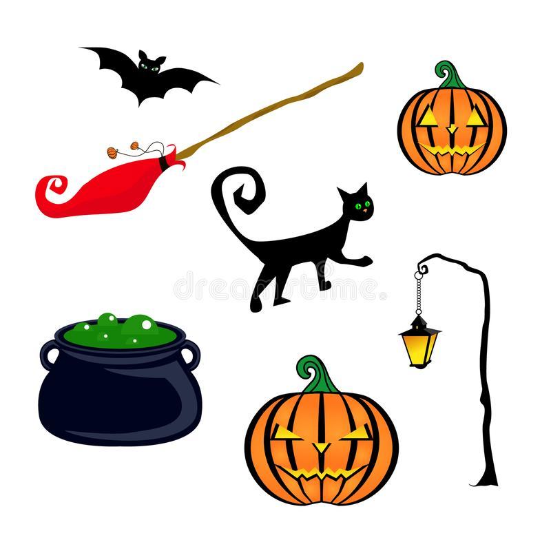 Halloween isolates. Red witch broom, a pot of green liquid and bubbles, a black cat, a lantern, a bat, two pumpkins. Vector illust stock illustration