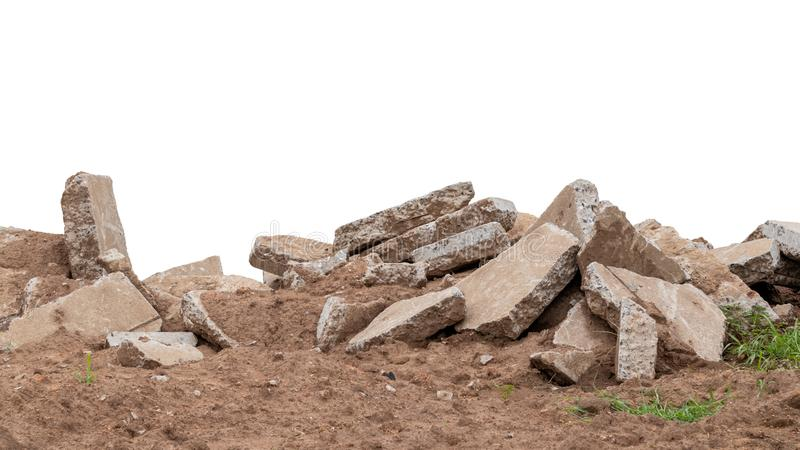 Isolates, large pile of concrete scraps. Which were obtained from the demolition of the old roads and left on the ground in rural Thailand royalty free stock image