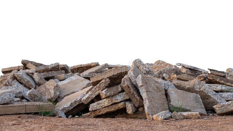 Isolates, large pile of concrete scraps. Which were obtained from the demolition of the old roads and left on the ground in rural Thailand stock photography
