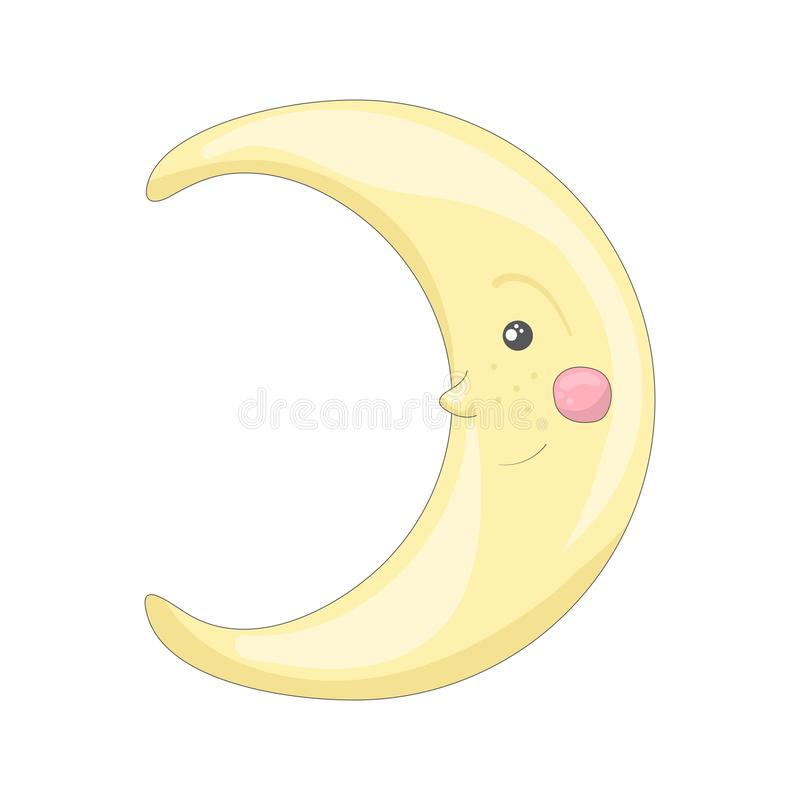Isolates smiling moon in cartoon style royalty free illustration