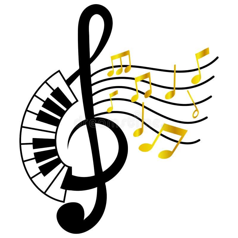 IsolatG-klav med den guld- musikanm?rkningen stock illustrationer