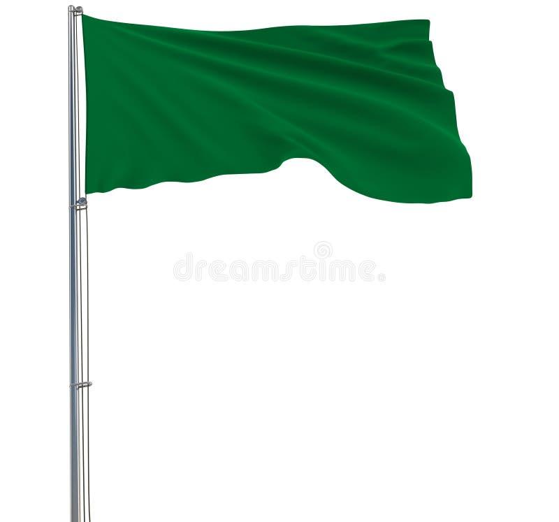 Isolatgräsplanflagga på en flaggstång som fladdrar i vinden på en vit bakgrund, tolkning 3d vektor illustrationer
