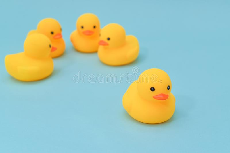 Isolation concept, rubber ducky is separated stock images