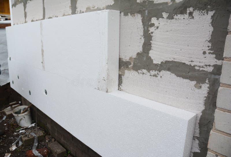 Isolation expulsée rigide de mur de maison de polystyrène Hou isolant image libre de droits