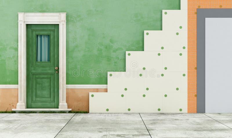 Isolation thermique d'une vieille maison illustration libre de droits
