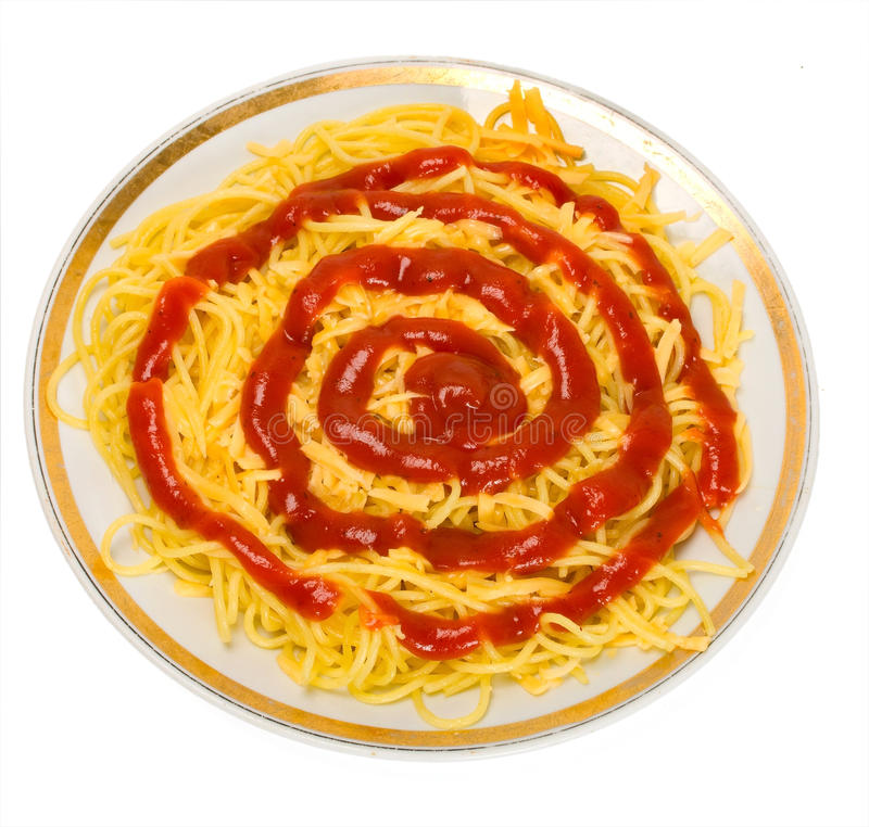 Isolationsschlauchteigwaren mit Tomate stockbild