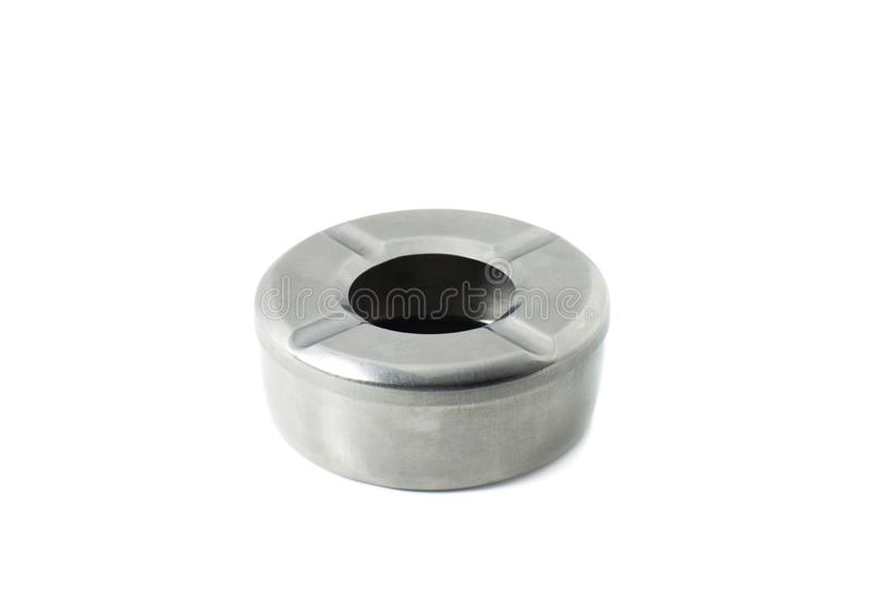 Isolato d'acciaio del portacenere su fondo bianco fotografia stock