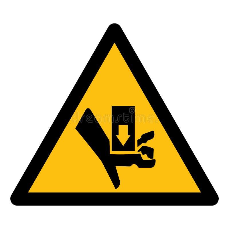 Isolato d'avvertimento del segno di simbolo di schiacciamento e del taglio della parte mobile su fondo bianco, illustrazione ENV  illustrazione di stock