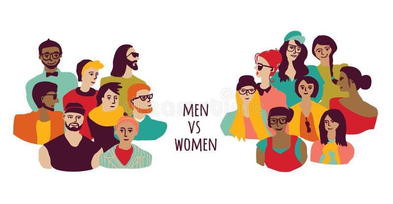 Isolato dei gruppi degli uomini e delle donne di opposizione su bianco illustrazione di stock