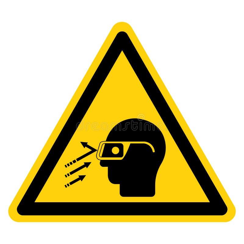 Isolato del segno di simbolo degli occhiali di protezione di usura del detrito ricadente su fondo bianco, illustrazione di vettor illustrazione di stock