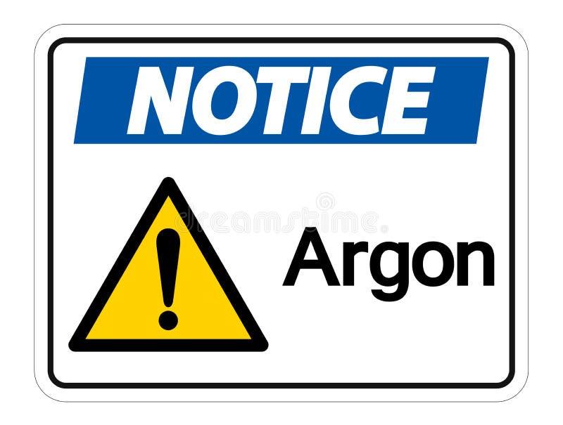 Isolato del segno di simbolo dell'argon dell'avviso su fondo bianco, illustrazione di vettore royalty illustrazione gratis