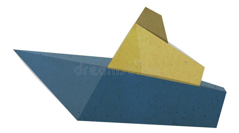 Isolato della barca di origami su fondo bianco illustrazione di stock