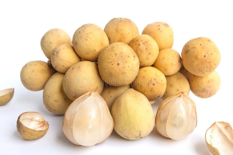 Isolato della frutta di Longkong, di Langsat o di lanzones su fondo bianco fotografia stock