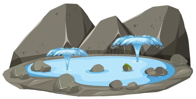 Isolato della sorgente di acqua calda illustrazione di stock