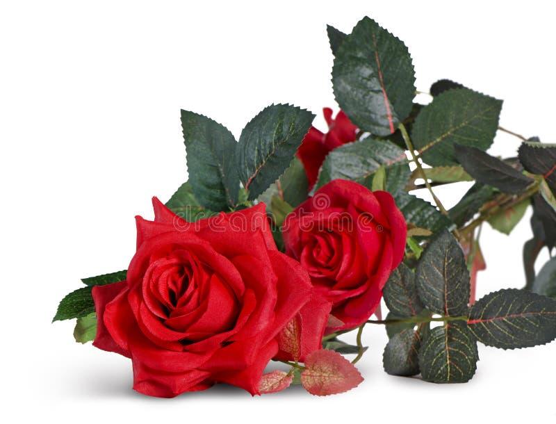Isolato di plastica della rosa rossa su fondo bianco fatto da plastica immagini stock