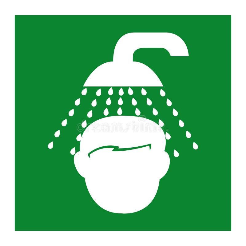 Isolato di simbolo della doccia di emergenza su fondo bianco, illustrazione ENV di vettore 10 illustrazione di stock