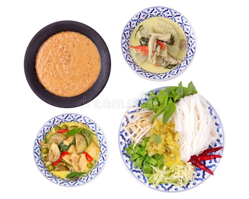 Isolato di struttura e di alimento tailandese popolare, tagliatella di riso con il lato fotografie stock
