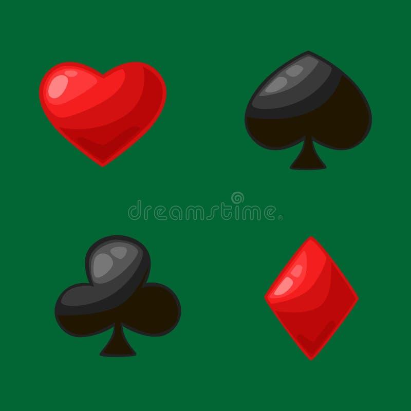 Isolato quattro vestiti della carta per il gioco del poker in casinò, il simbolo dei cuori rossi, i diamanti ed i club neri, vang royalty illustrazione gratis