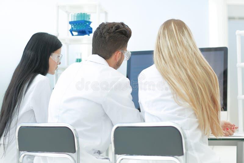 Isolato su bianco un gruppo di scienziati utilizza i computer per analizzare le informazioni fotografia stock libera da diritti