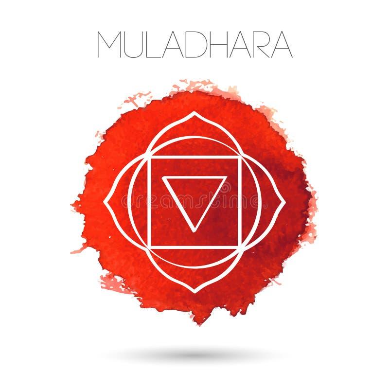 Isolato su un'illustrazione bianca del fondo di uno dei sette chakras - Muladhara Struttura dipinta a mano dell'acquerello illustrazione di stock