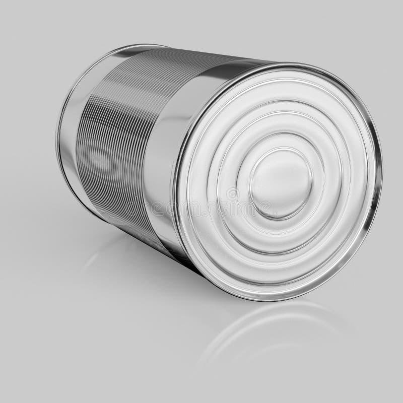 Isolato Tin Can su una superficie riflettente senza cuciture e leggera illustrazione di stock