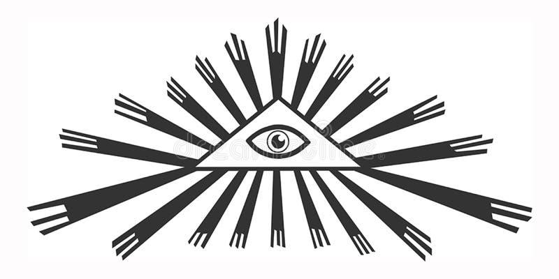 Isolato tutto vedendo occhio in un triangolo royalty illustrazione gratis