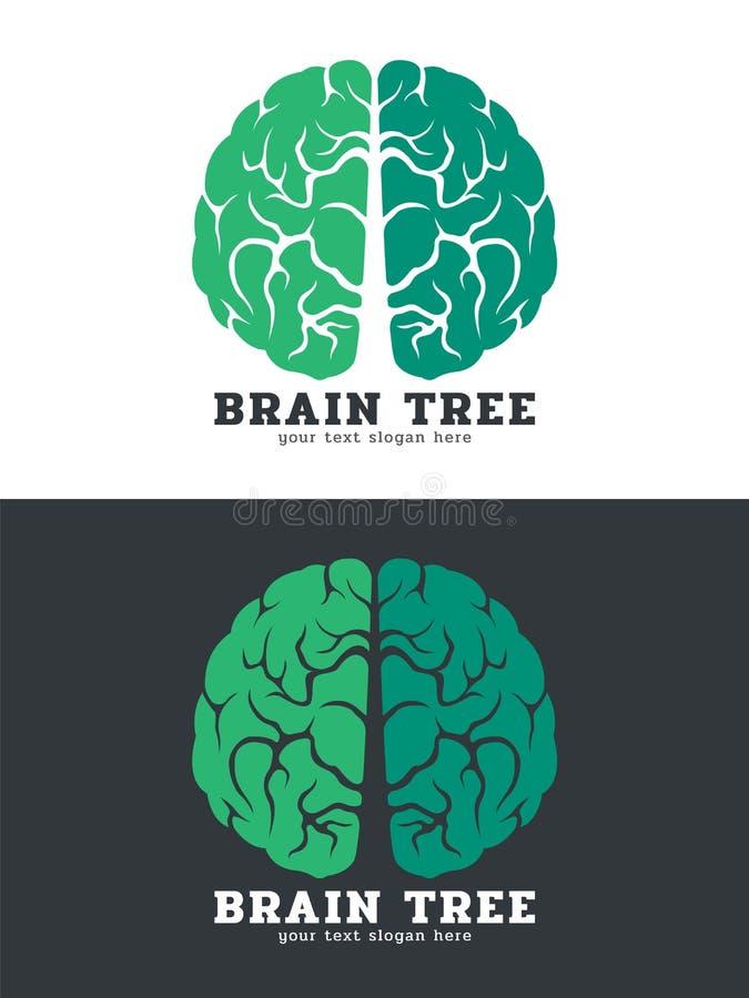 Isolato verde di progettazione di arte di vettore di logo dell'albero del cervello su fondo bianco e scuro illustrazione di stock