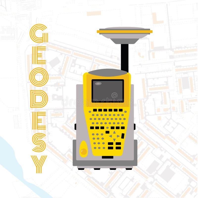 Isolatsymbol av mäta utrustning för geodesi som iscensätter teknologi för landgranskning stock illustrationer