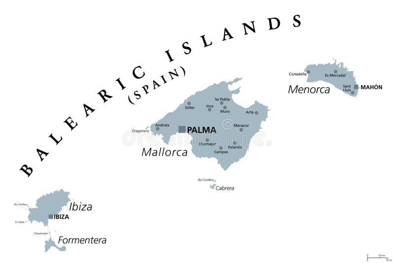 Spagna E Isole Baleari Cartina.Mappa Politica Delle Isole Baleari Illustrazione Vettoriale Illustrazione Di Europa Terra 87595632