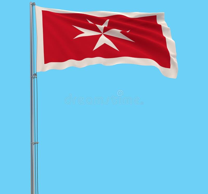 Isole a bandeira civil de Malta - bandeira em um mastro de bandeira que vibra no vento em um fundo azul, rendição 3d ilustração royalty free