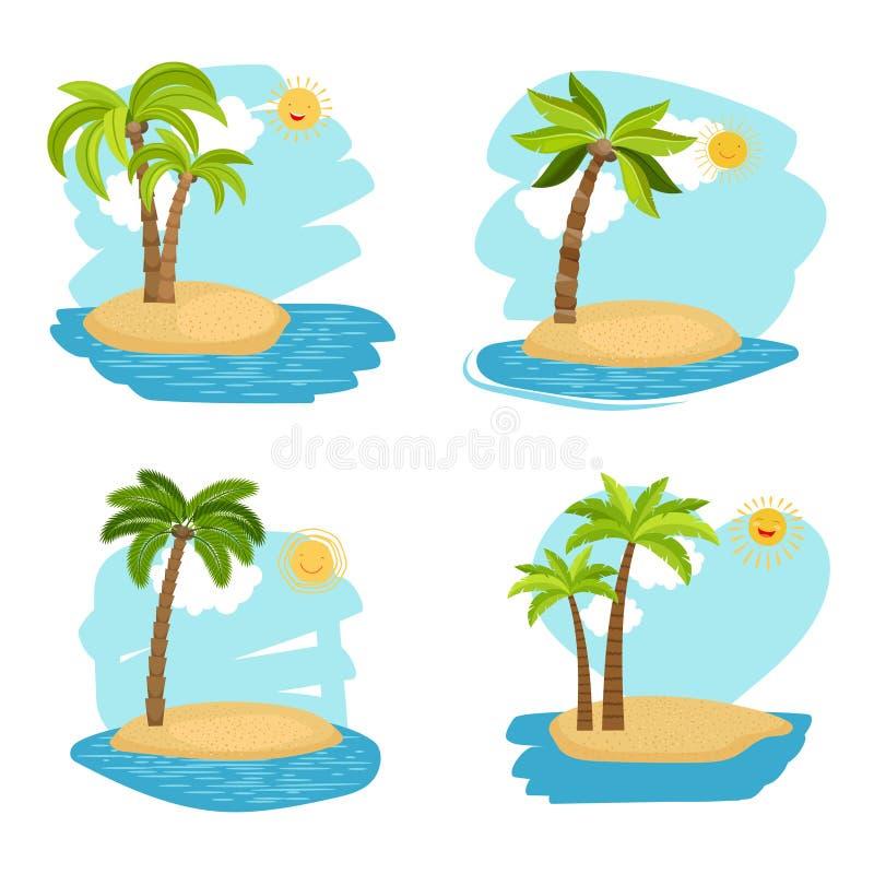 Isole degli alberi del cocco di progettazione di festa illustrazione di stock