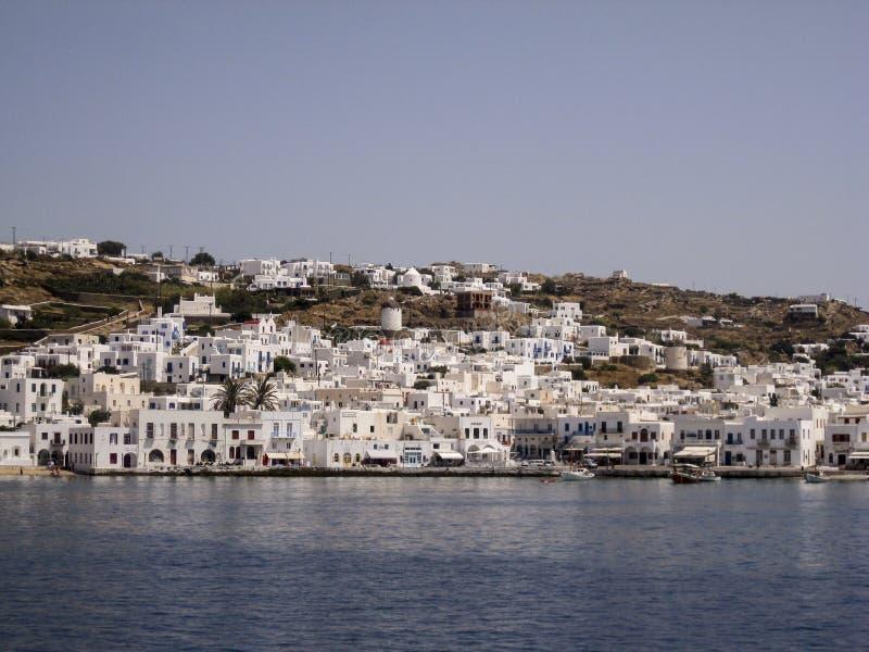 Isole del Greco dei mulini a vento di Mykonos fotografia stock libera da diritti