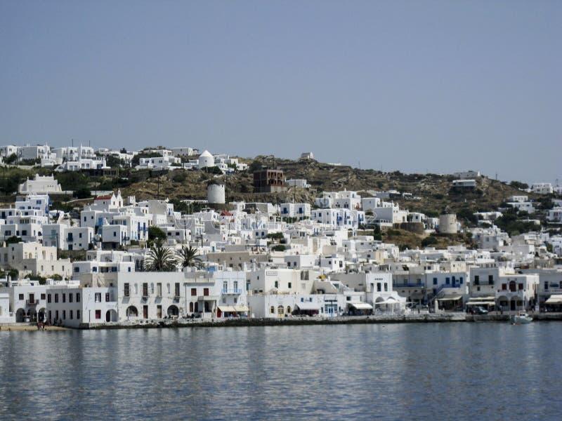Isole del Greco dei mulini a vento di Mykonos fotografie stock libere da diritti