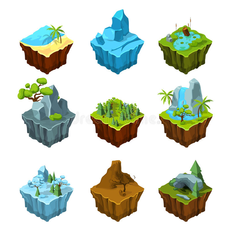 Isole di fantasia della roccia per i giochi di computer Illustrazioni isometriche nello stile del fumetto illustrazione vettoriale