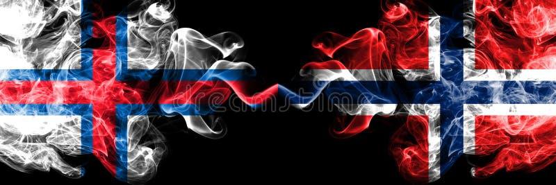 Isole faroe, Norvegia, norvegese, bandiere fumose variopinte spesse della concorrenza di vibrazione Giochi europei di qualificazi illustrazione di stock