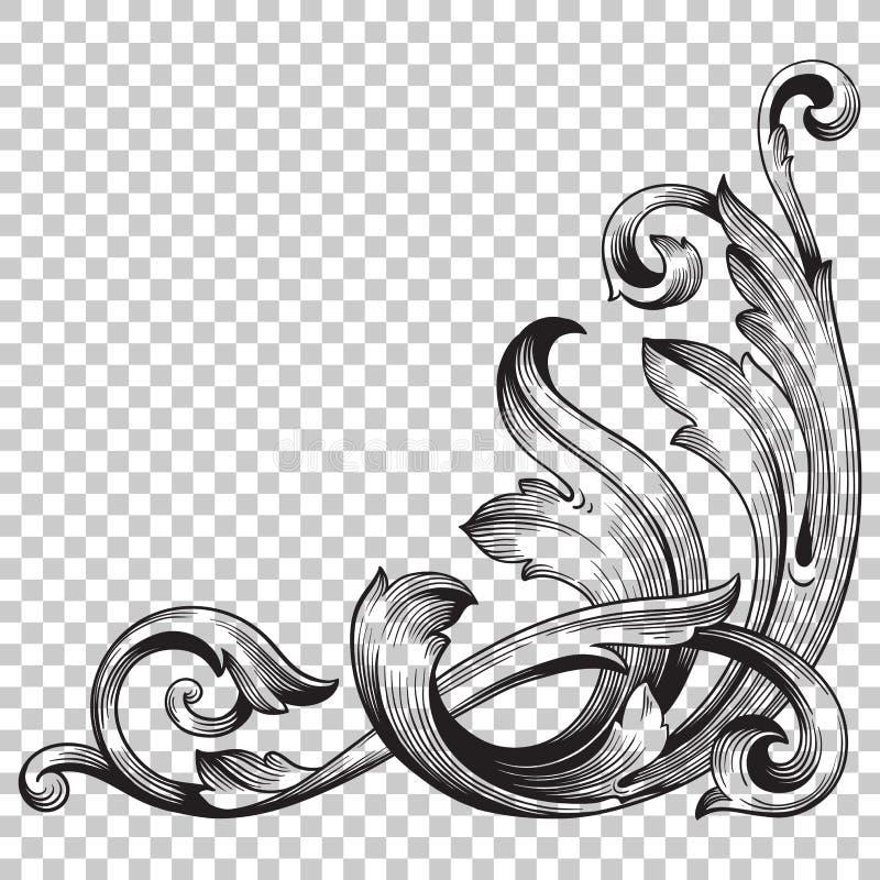 Isoleer hoekornament in barokke stijl stock fotografie