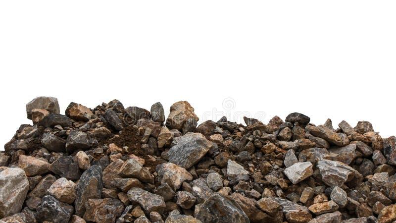 Isoleer stapel van graniet met klei stock afbeelding