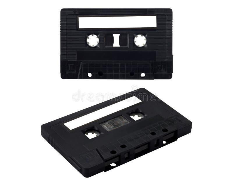 Isoleer Zwarte Cassetteband stock foto's